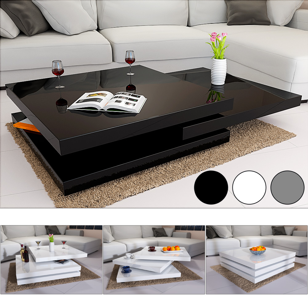 Design Couchtisch Spin Details About Rotating Coffee Table High Gloss Layers Modern Living Room Furniture Lounge Mdf