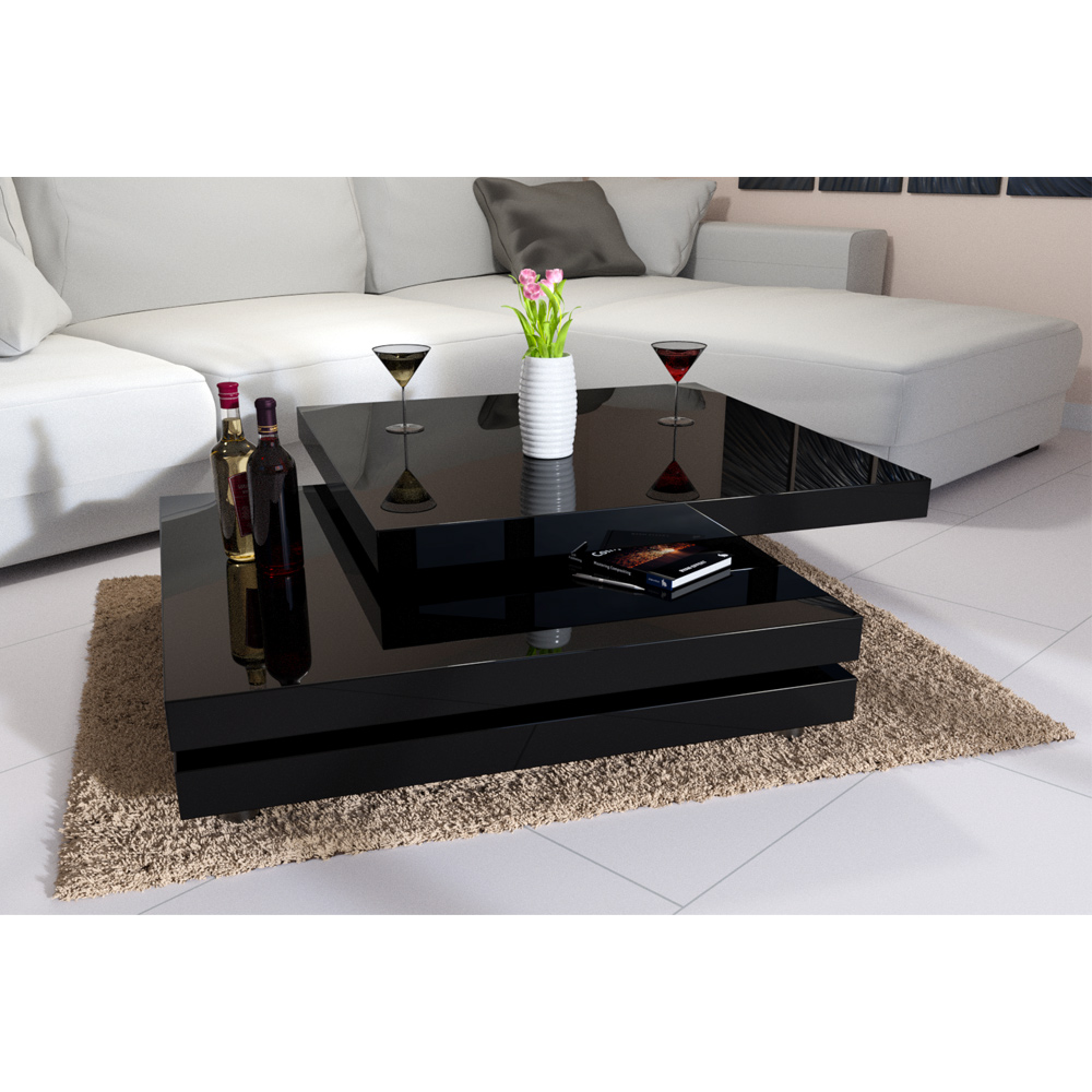 Couchtisch Home 24 Rotating Coffee Table High Gloss Layers Modern Living Room