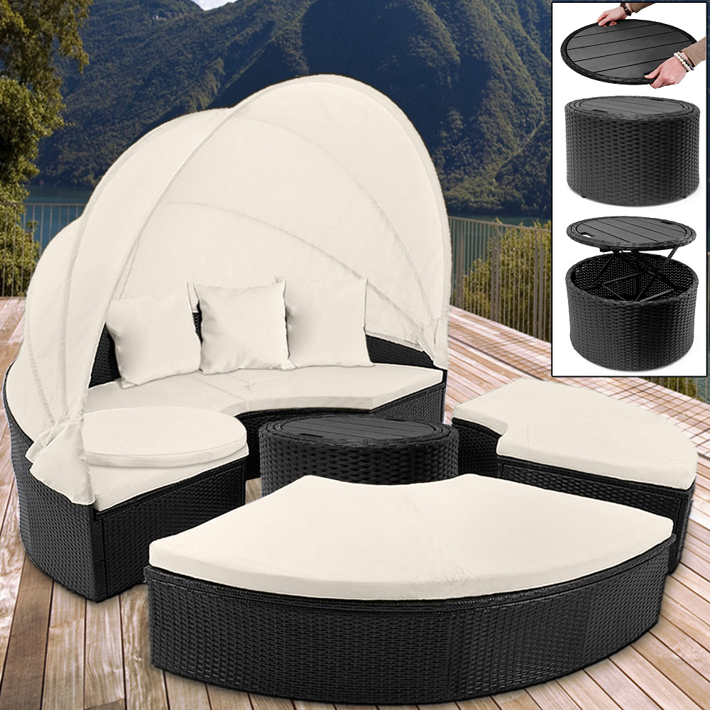 Rattanmöbel 24 Details Zu Poly Rattan Garden Day Bed Ø185cm Patio Sun Lounge Black Outdoor Sofa Furniture