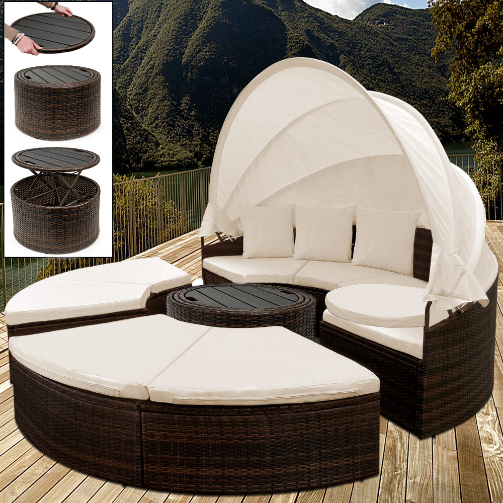 Rattanmöbel 24 Details Zu Poly Rattan Garden Day Bed 185cm Outdoor Patio Sun Lounge Brown Terrace Sofa Set