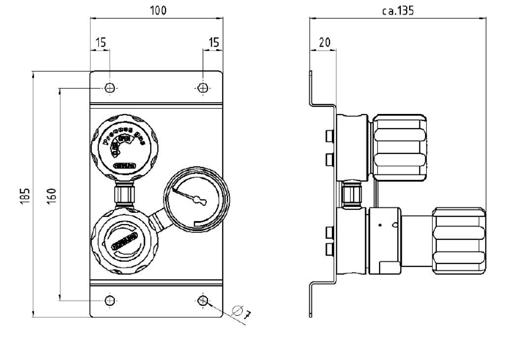 Sour gas pressure regulator / for inert gases / for natural gas