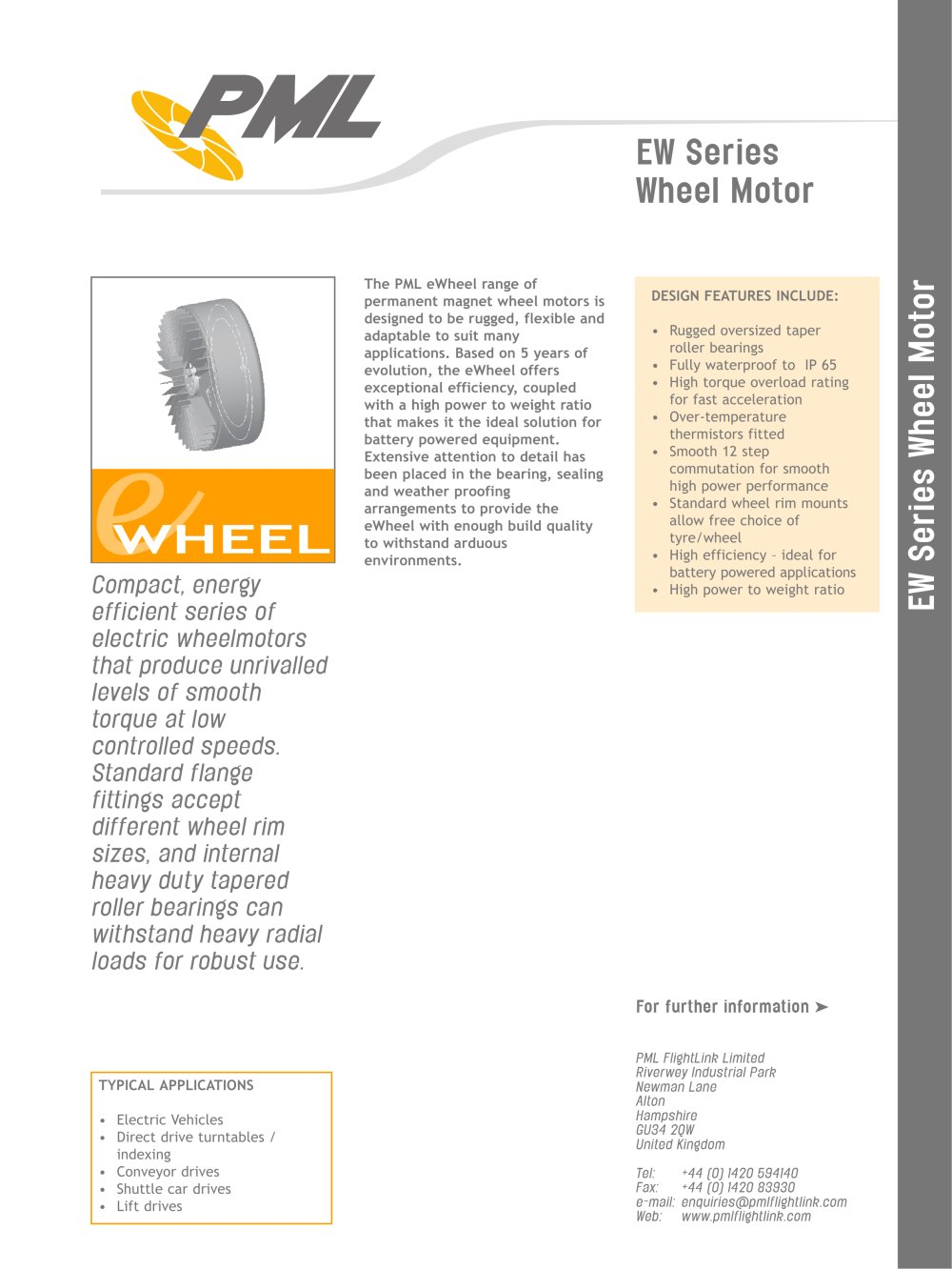 Ew Series Ew Series Wheelmotors Pinted Motor Works Pdf Catalogue