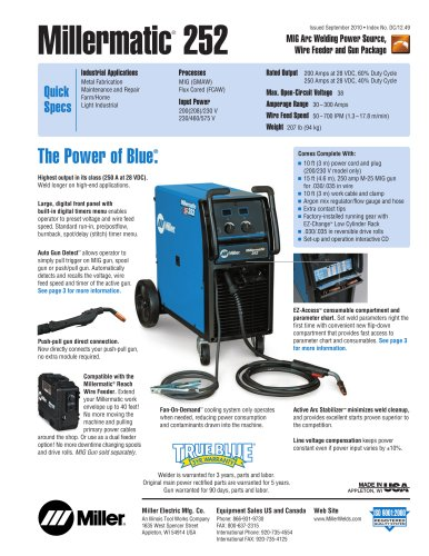 Millermatic® 252 - Miller Electric - PDF Catalogs Technical
