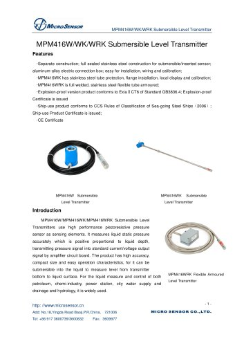 MPM416WK Submersible Level Transmitter - Micro Sensor Co,Ltd - PDF