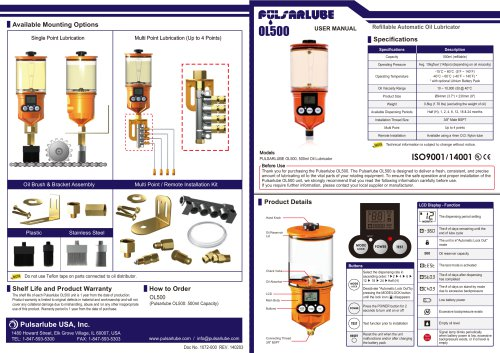 Operation manual OL500 - KLT Co,Ltd - PDF Catalogs Technical