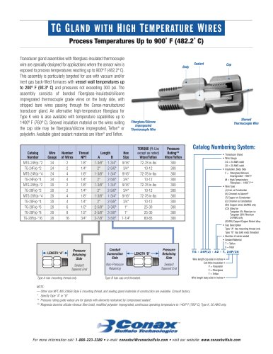 TG Gland with High Temperature Wire - Bulletin 6021 - Conax