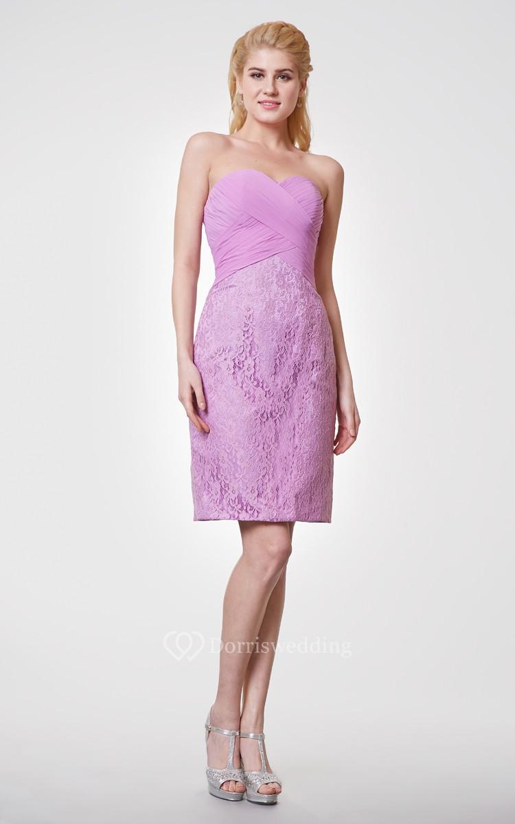 Classic Sweetheart Sheath Knee Length Lace Dress
