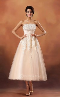 Strapless Cinched-Waisband Tea-Length Dress With Lace ...
