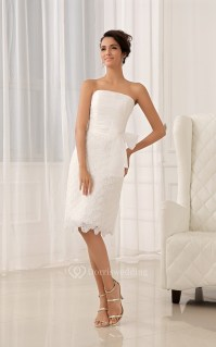Strapless Tea-Length Dress With Flower and Lace Appliques ...