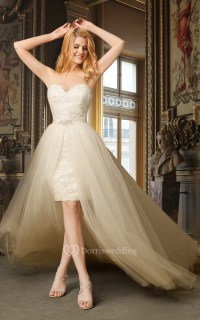 Sweetheart High Low Wedding Dress With Removable Skirt ...