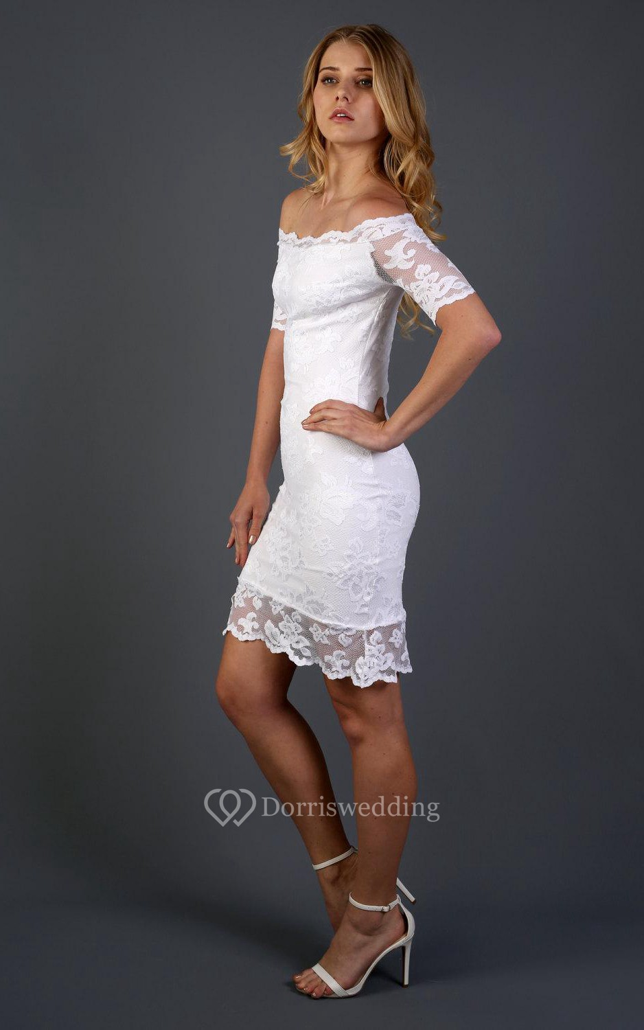 cheap short wedding dresses short fitted wedding dresses Sheath Off The Shoulder Short Sleeve Lace Dress With Detachable Tulle Skirt