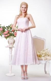 Simple Strapless A-line Lace Tea Length Dress - Dorris Wedding