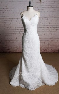 V-Neck Mermaid Lace Bridal Dress With Spaghetti Straps ...