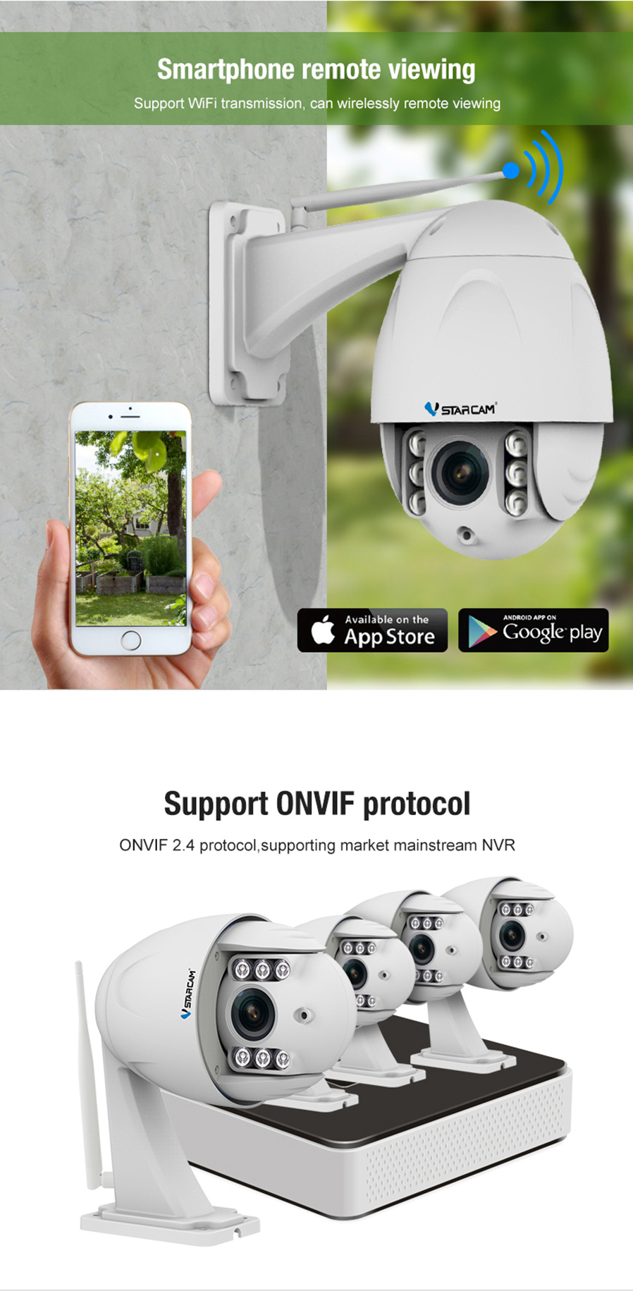 Camera Exterieur New Deal Vstarcam 2 0mp Full Hd 1080p Ip66 Waterproof Security Wireless Ip Camera W 4x Zoom Ir Night Vision Motion Detection