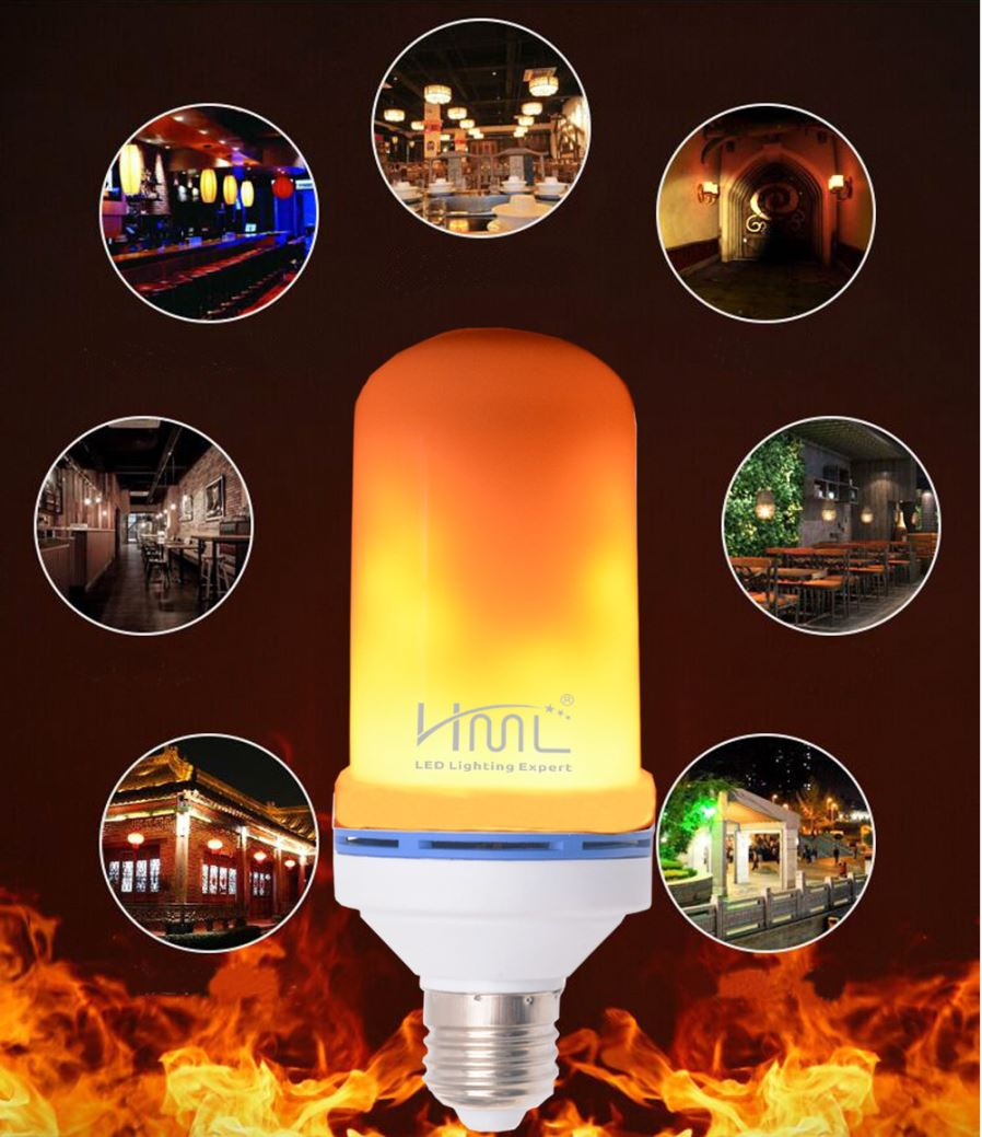 Flame Led Lamp E27 Hml E27 90 240v 3w 4w 5w 6w Led 3d Flame Light Bulb Emulation Flaming 2 Mode Decorative Lamp