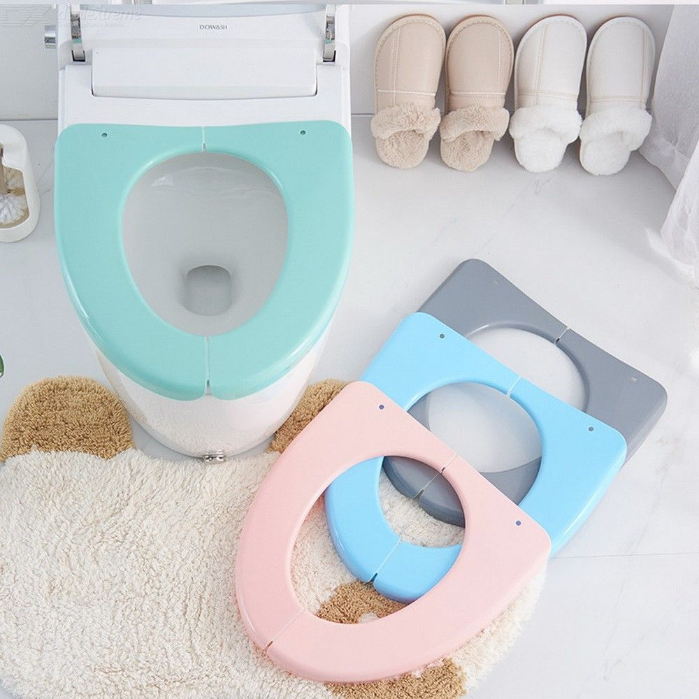 Toiletset Accessoires Folding Plastic Toilet Seat Cover Thickened Waterproof Cushion For Travel Bathroom Accessories