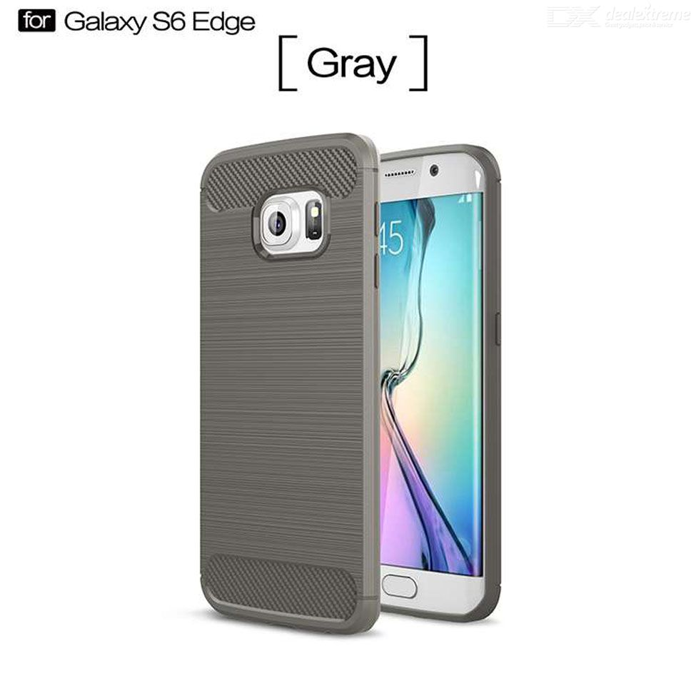 Handyhülle S6 Edge Leder Protective Carbon Fiber Drawing Tpu Flexible Phone Case Back Cover For Galaxy S6 Edge Gray