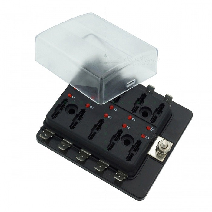 10-Way Blade Fuse Box LED Indicator for Blown Fuse Protection