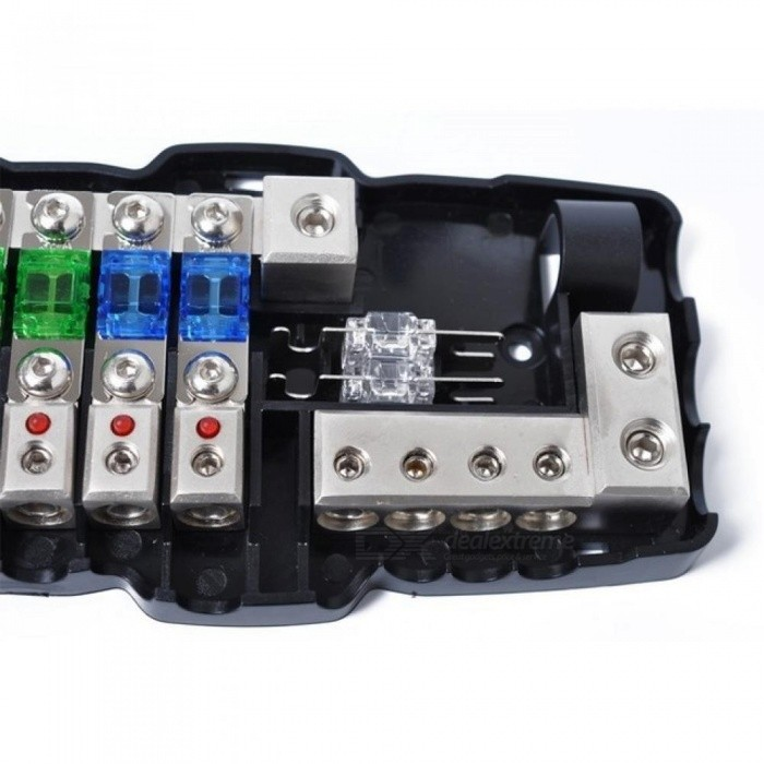 Multi-functional LED Car Audio Stereo Mini ANL Fuse Box with 4 Way
