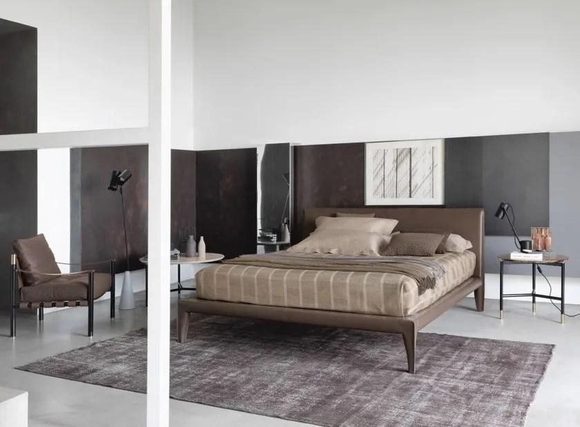 Gepolstertes Bett aus gegerbtem Leder ALICUDI By Flou - die betten von flou