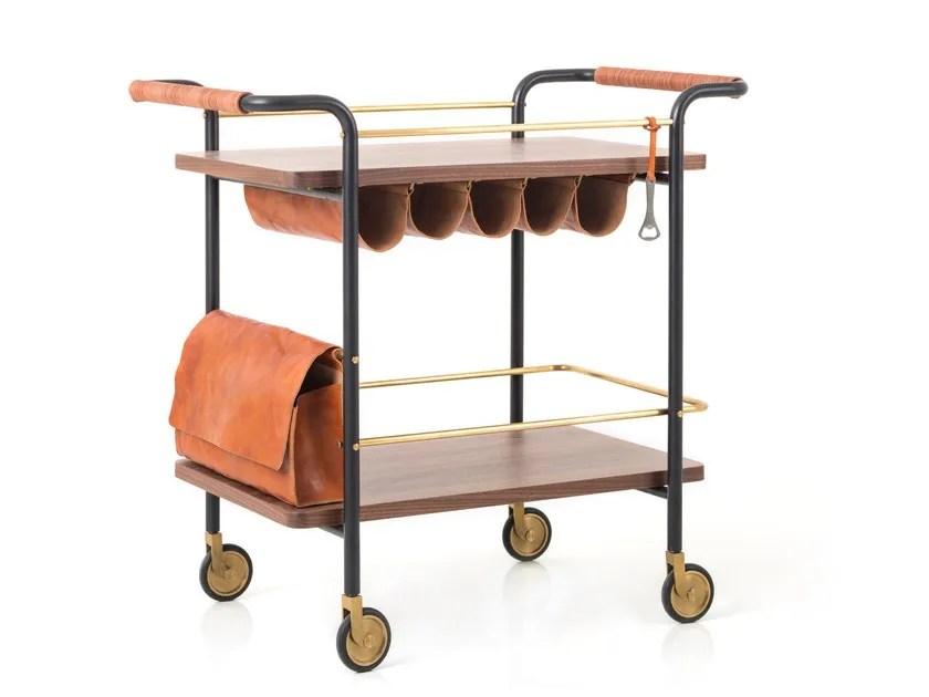 Chariot à boisson en bois de style contemporain VALET BAR CART