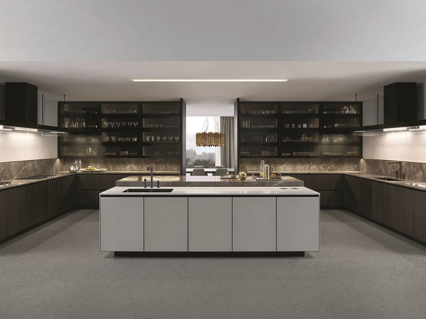 Network Küchen Lacquered Kitchen With Island With Integrated Handles