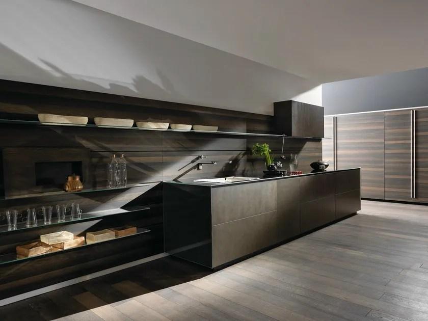 Zeilen- Einbauküche aus Stahl RICICLANTICA INOX TOUCH By VALCUCINE - kuchen utensilien artematica inox valcucine