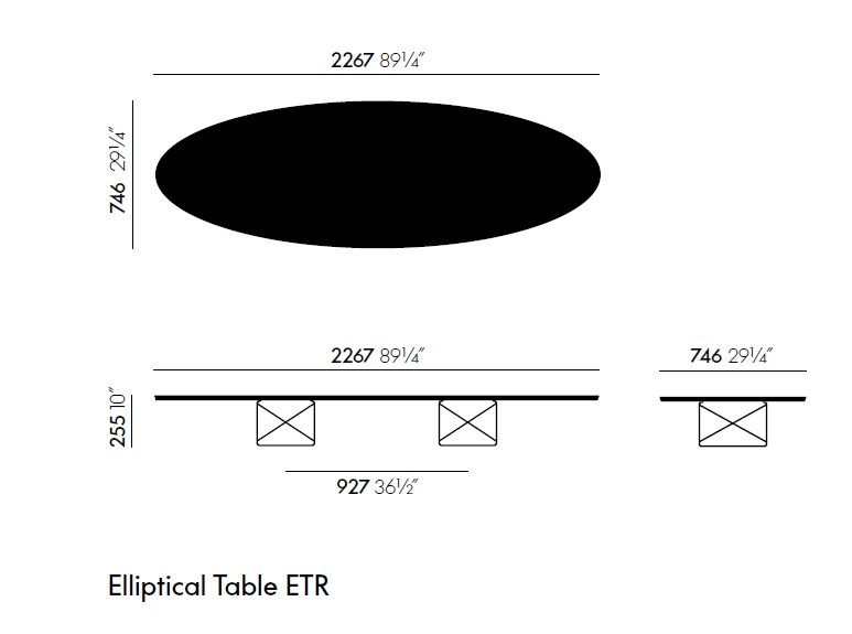Coffee Table For Living Room Elliptical Table Etr By Vitra