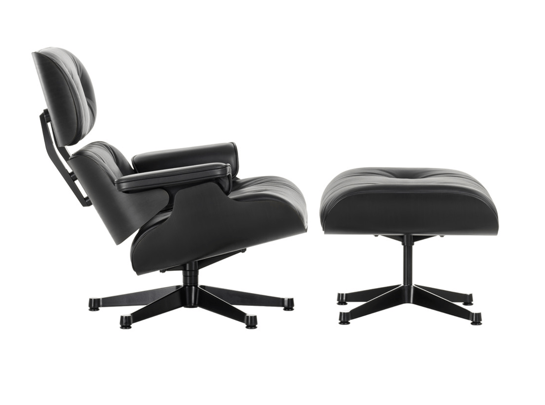 Eames Chair Bim Swivel Leather Armchair Lounge Chair And Ottoman Black