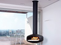 Gas hanging fireplace with panoramic glass OVAL by BRITISH ...
