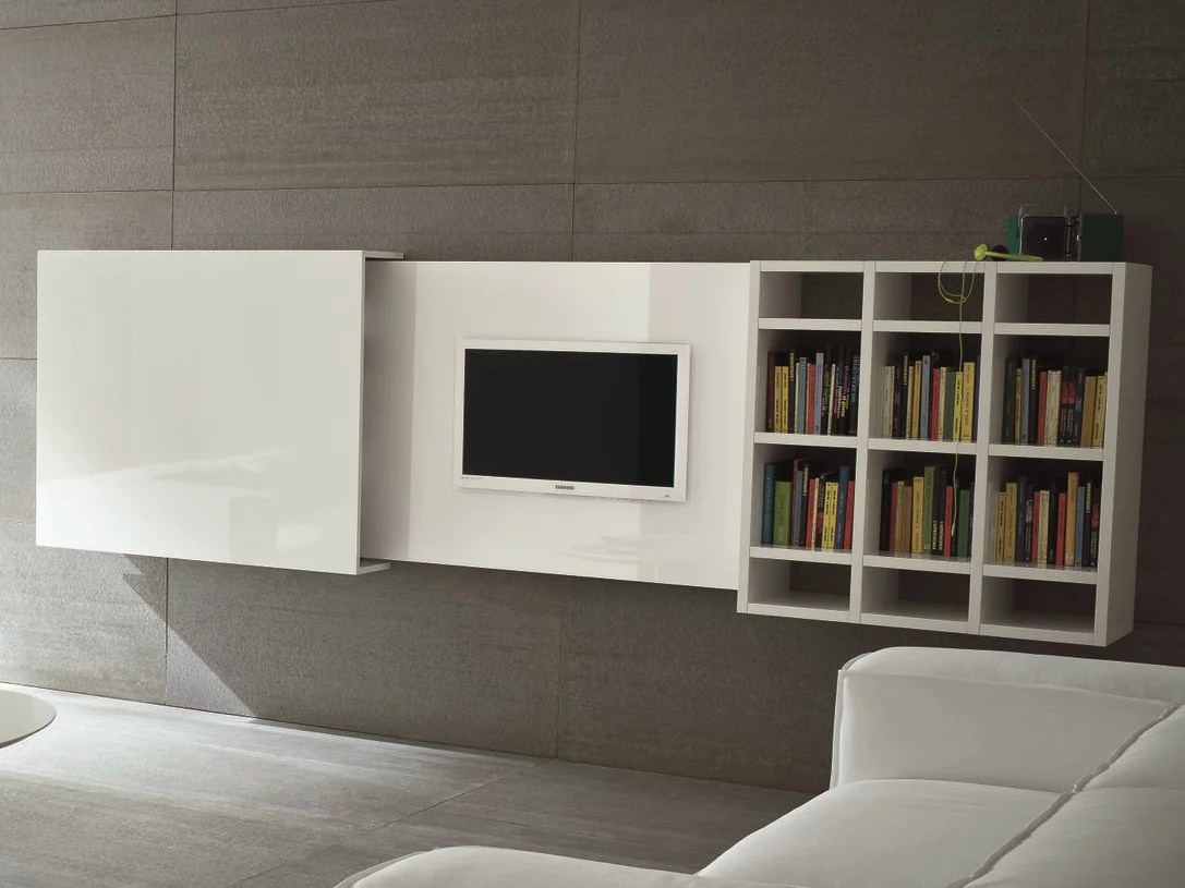 Casa Meuble Tv Meuble Tv Mural Escamotable Slim 10 By Dallagnese Design