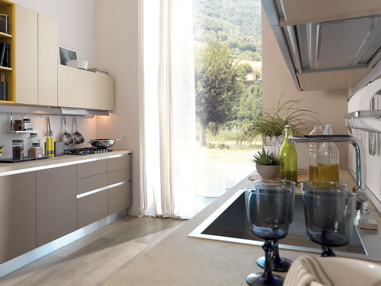 Cucina Lube Essenza Pino Kaki Essenza Kitchen Without Handles By Cucine Lube