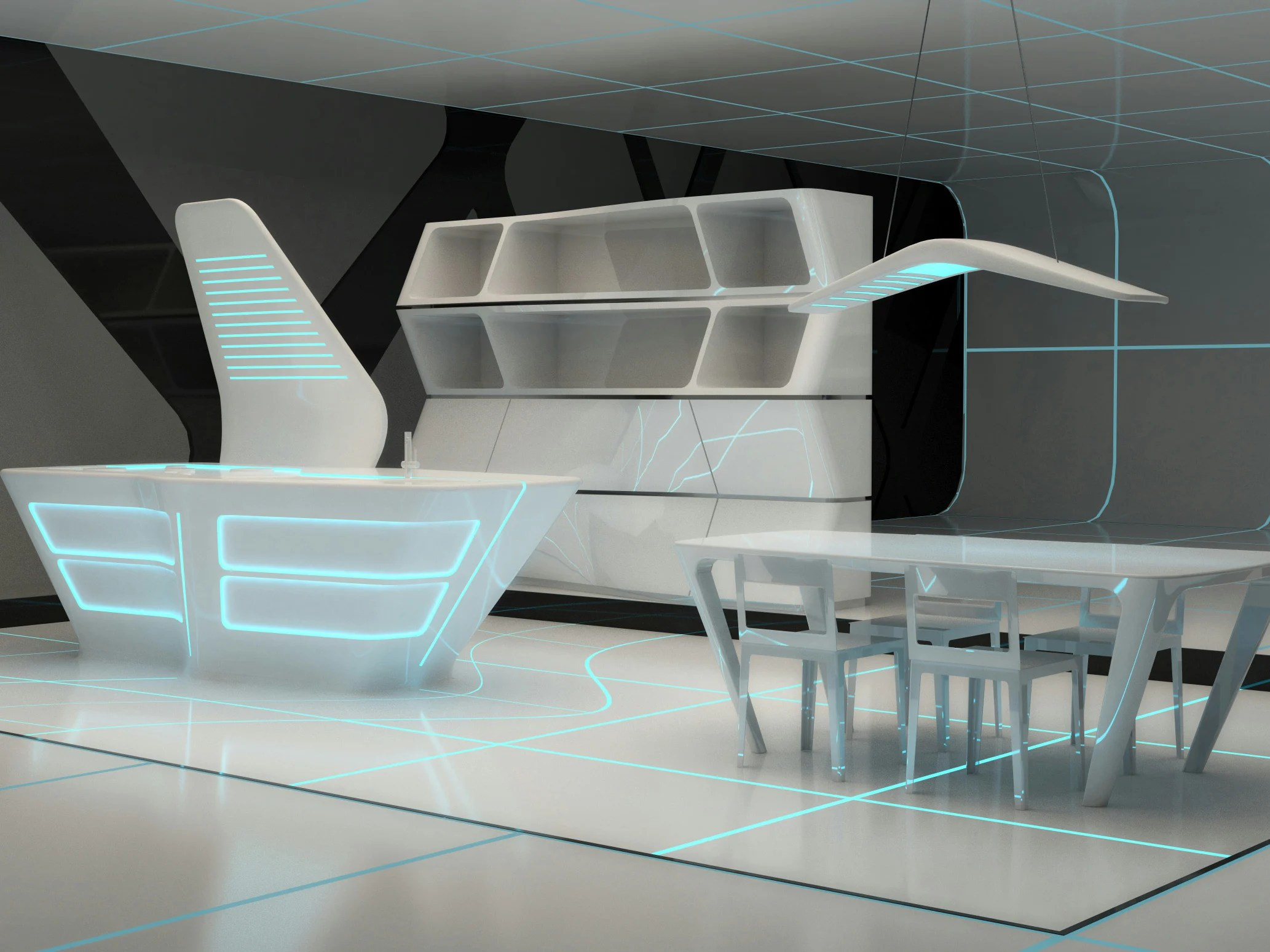 Cool Futuristic Furniture Corian Kitchen With Island Tron Designs Corian By