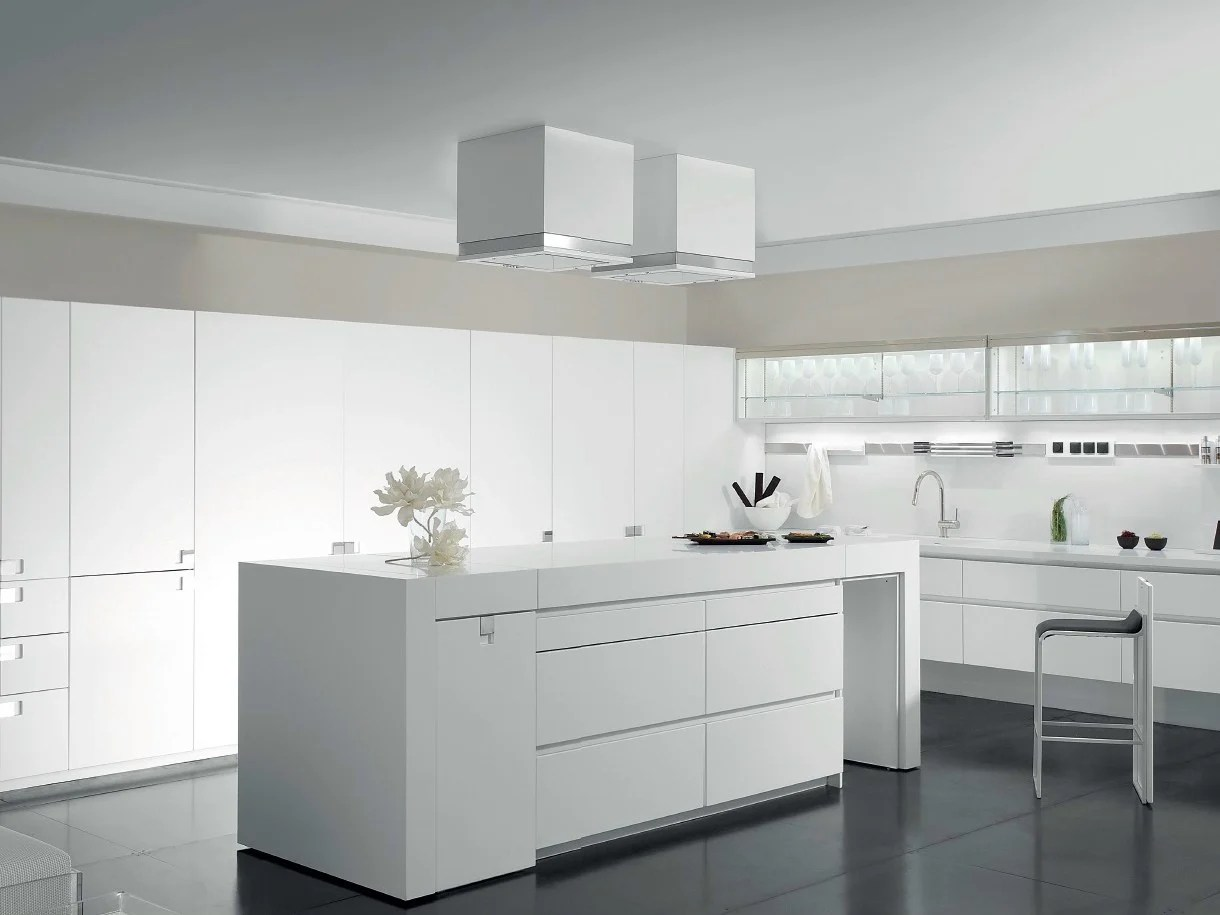 Schriftzug Küche Modern Lacquered Corian Kitchen With Island Essential Quadra By