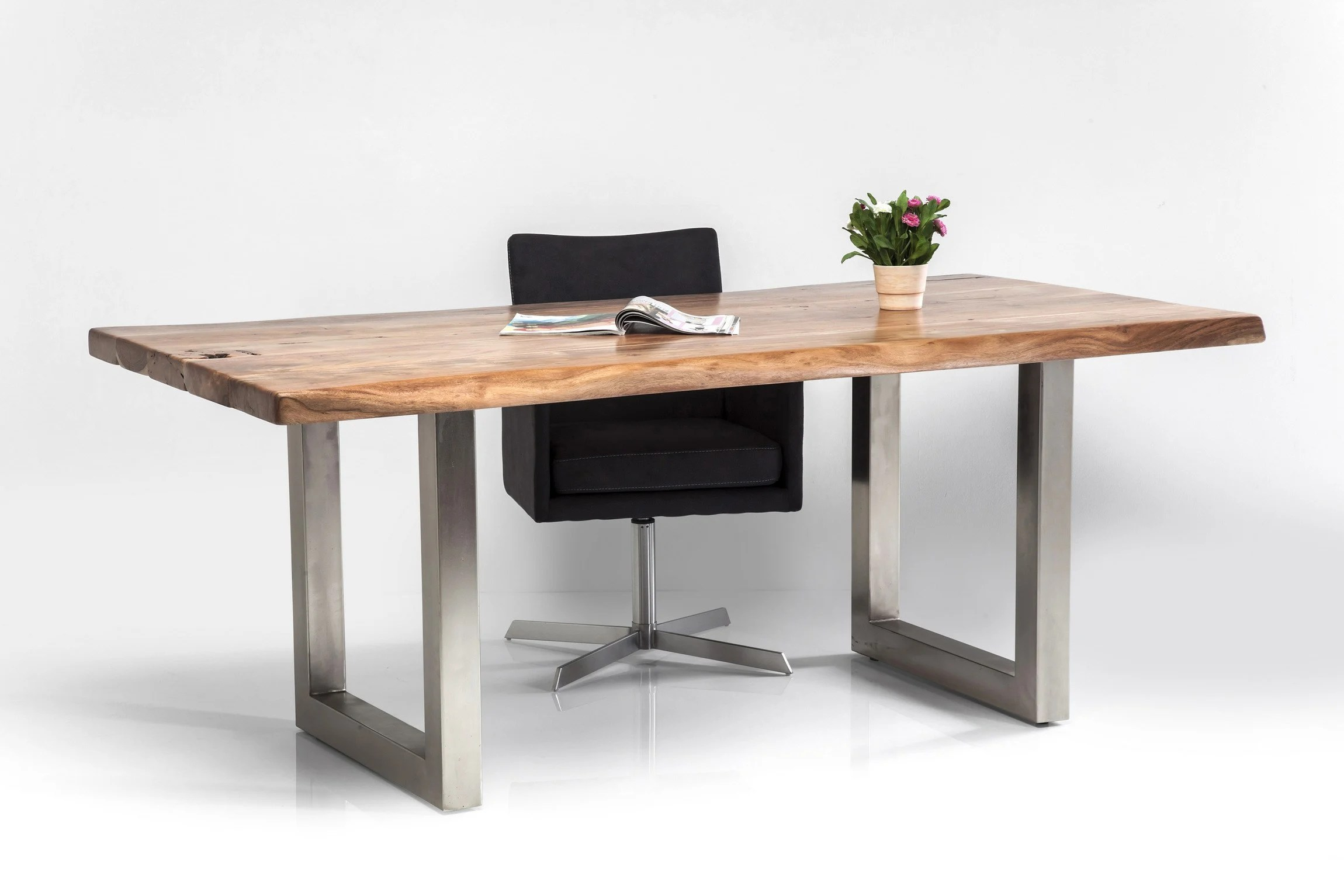 Care Design Rectangular Steel And Wood Table Pure Nature By Kare Design