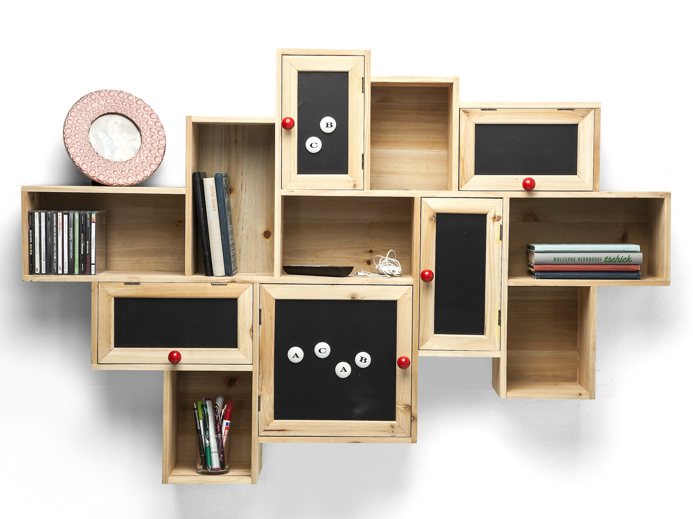 Kare Designe Wall Mounted Spruce Bookcase With Drawers Schools Out By