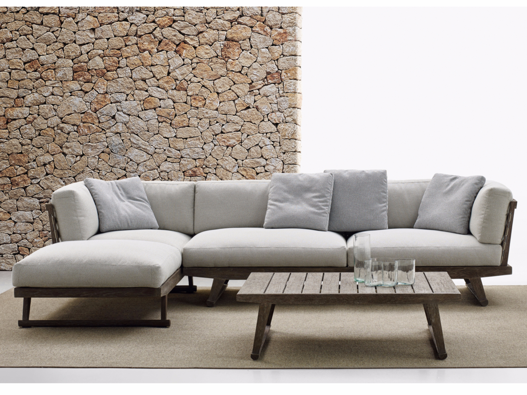 Outdoor Couch Gio Sofa With Chaise Longue Gio Collection By B Andb Italia