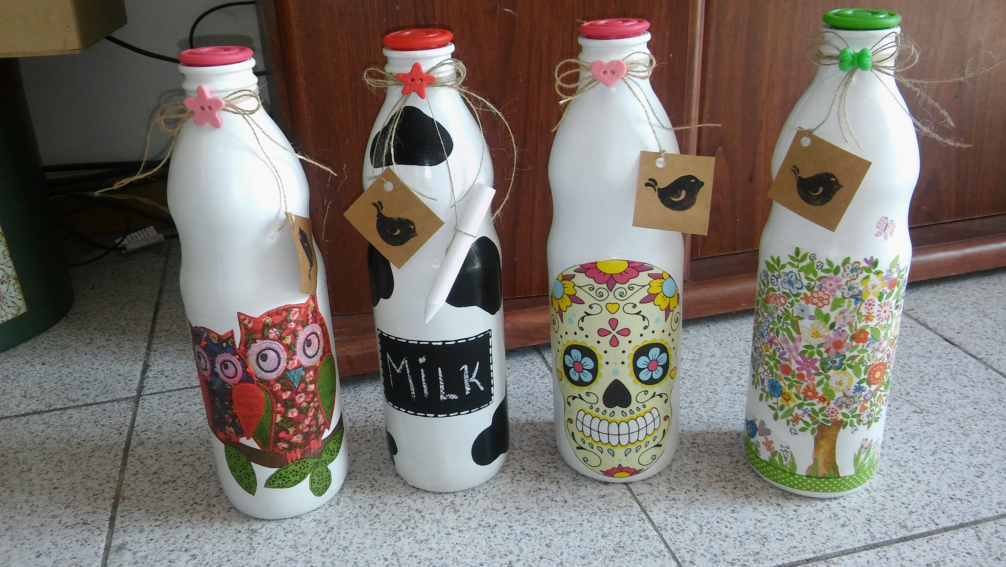 Comprar Botellas Decoradas Botellas Pintadas Y Decoupage Fridas Deco Elo7