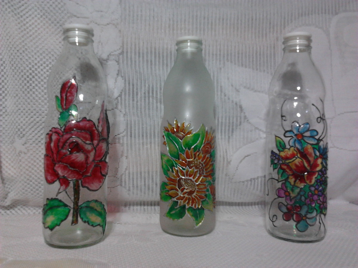 Comprar Botellas Decoradas Botellas Vidrio Pintadas Simil Vitreaux Norm Petit Elo7