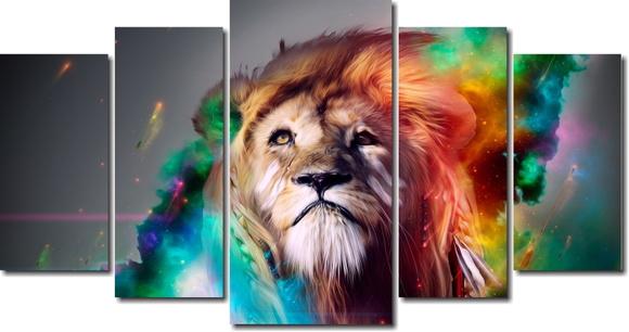 3d Wallpaper Pc Windows 7 Quadro Decorativo Leao Colorido Elo7
