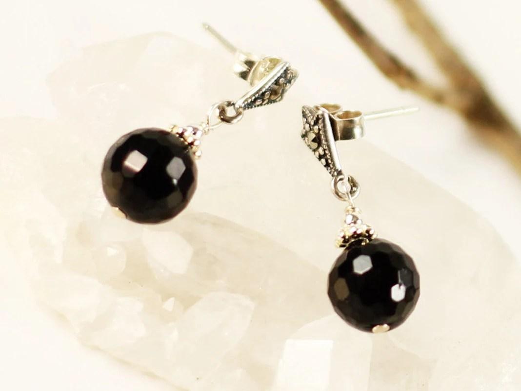 Black Tourmaline Earrings Sterling Silver marcasite studs