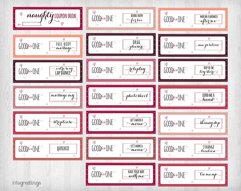 Printable NAUGHTY Coupons for boyfriend husband by InfoGreetings - discount coupon template