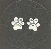 Paw Print Stud Earrings in Sterling Silver