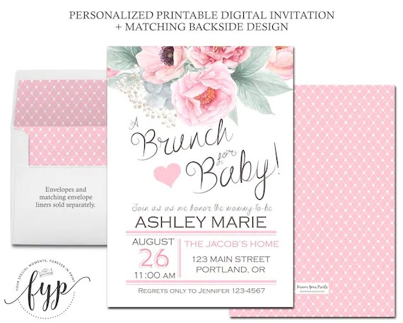 Floral Baby Shower Invitation Brunch For Baby Invitation - door hanger template