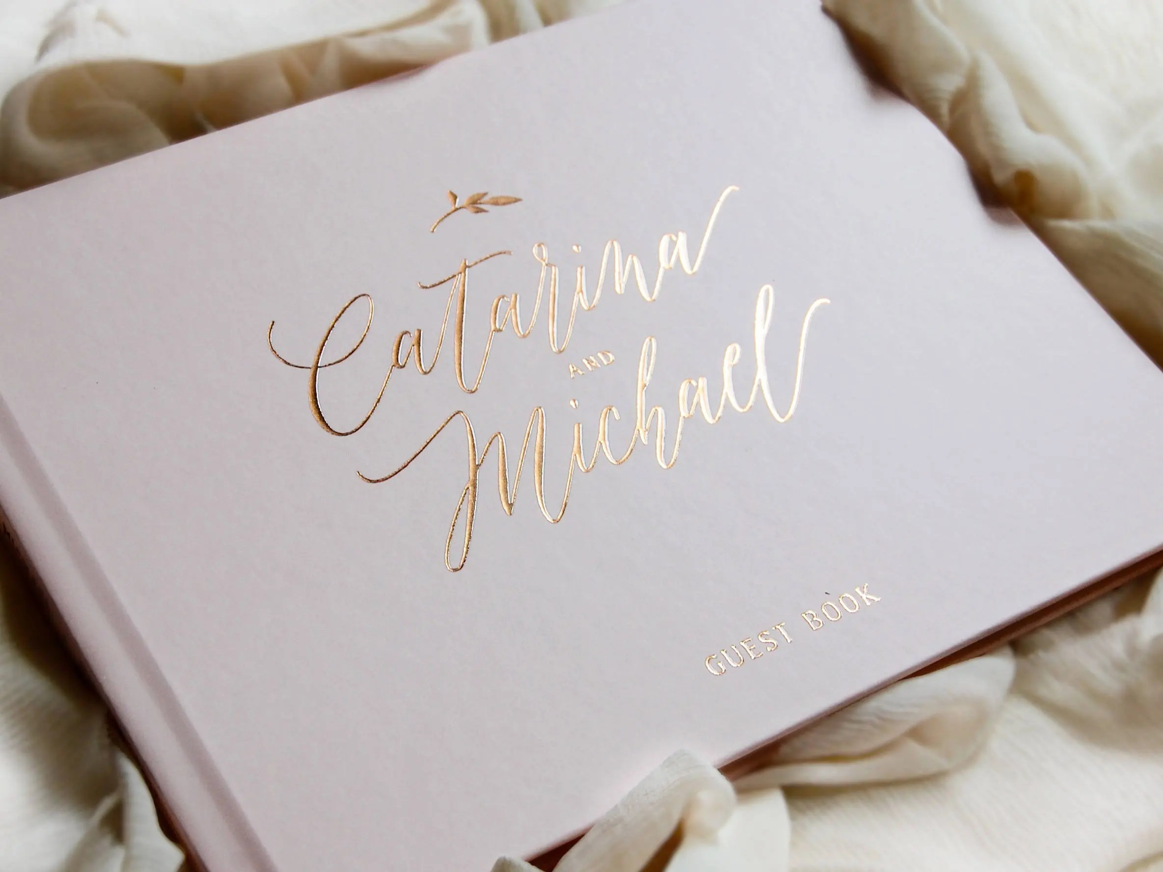 Wedding Guest Book Rose Gold Foil Wedding Guestbook Custom