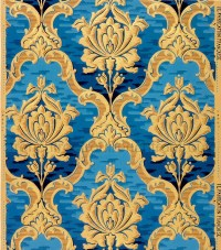 antique french wallpaper design rich gold blue roses in louis
