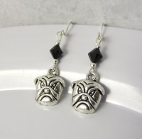 Bulldog Earrings choose a birthstone Bulldog Jewelry