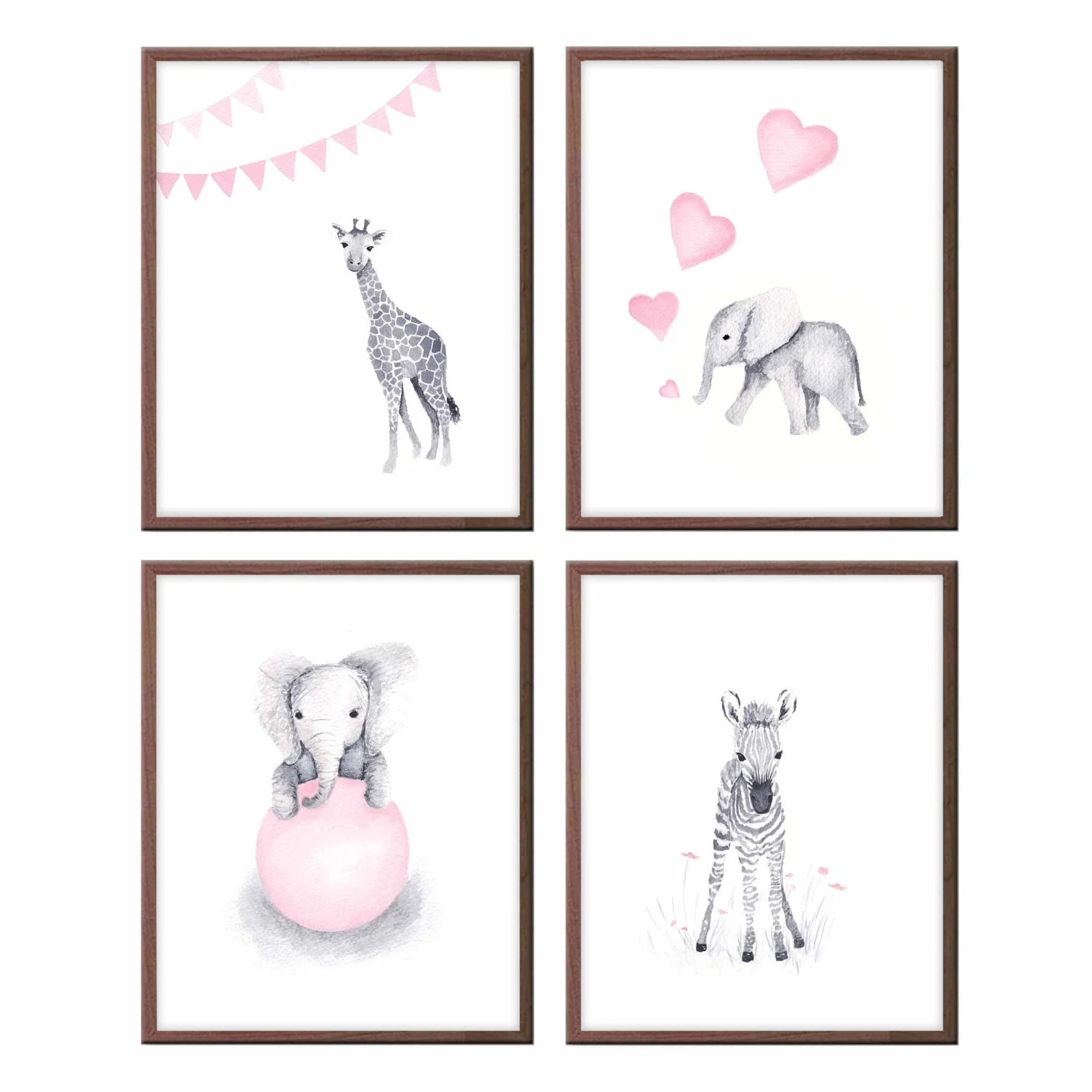 Poster Babyzimmer Baby Animals Wall Art Nursery Decor Pink And Gray Baby