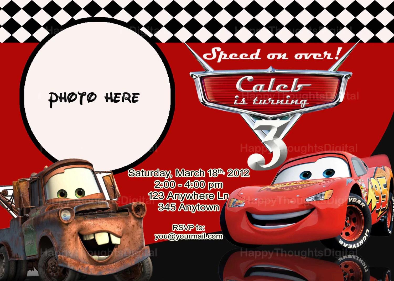 Pixar Cars Lightning Mcqueen Invitation Digital Diy Print