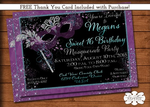 Medium Of Sweet 16 Invitations